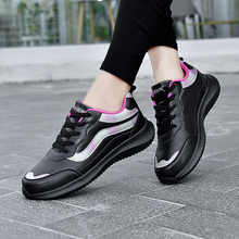 Women Sneakers Sport Shoes Leather Lace Up Waterproof Flats Shoes Casual Outdoor Gym Shoes  Running Shoes Ladies Athletic Shoes