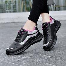 Zapatillas deportivas para mujer, zapatos planos impermeables con cordones de cuero, informales para gimnasio, correr