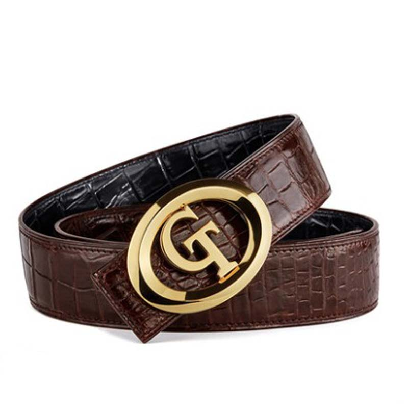 gete  Thailand  crocodile leather men belt  male  Genuine leather  Smooth buckle  Double sided crocodile skin men  belts