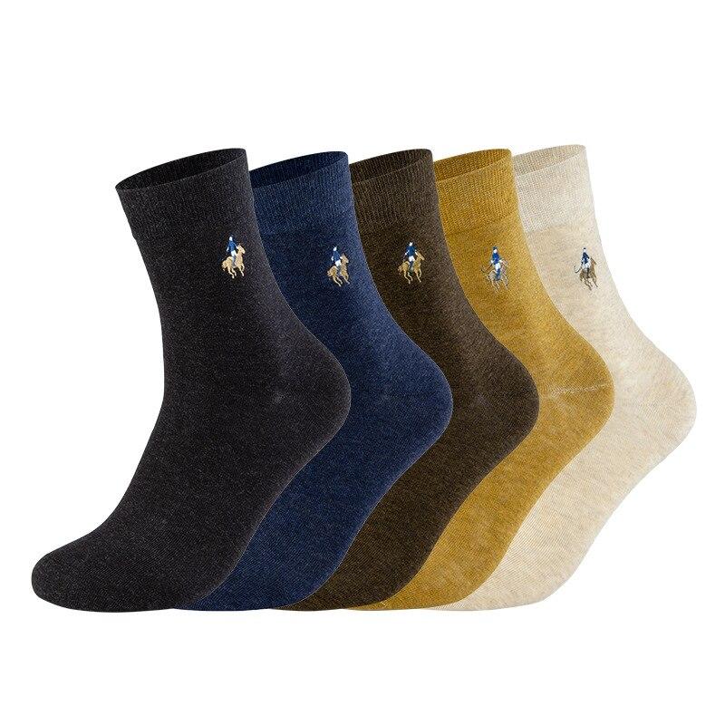 Alta qualidade pier polo negócio casual meias de algodão tripulação de inverno meias de algodão multicolorido bordado fabricante de meias atacado