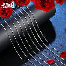 Effie queen colar de prata, corrente básica de prateada real da moda 925 colar de 40cm 45cm 50cm 55cm 60cm longo corrente de pescoço para homem e mulher sc07