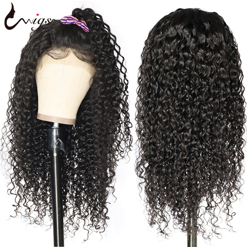 Uwigs 4x4 Closure Wig Curly Human Hair Wig Pre Plucked With Baby Hair 8-26 Inch HD Transparent Brazilian Remy Wigs 180 Density