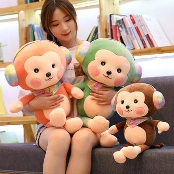 цена на Kawaii Wearing Headphones Monkey Long Arm Tail Stuffed Doll Plush Toys Baby Sleeping Appease Doll Birthday Gifts New 30cm-90CM