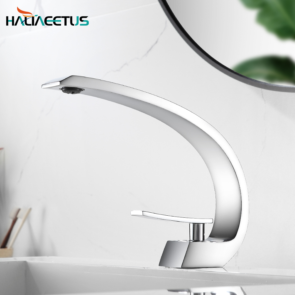 Free Shipping Chrome Brass Bathroom Faucet.basin Faucet Mixer Tap With Hot&cold Water.deck Mounted Water Taps