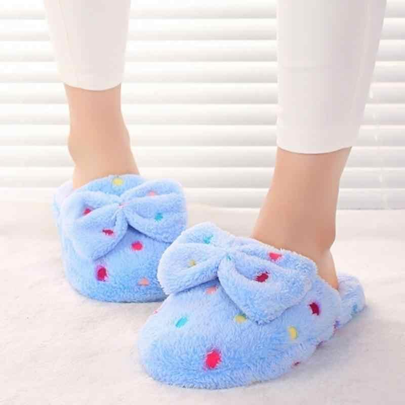 OUTAD 2018 Winter Home Slippers Vrouwen Warm Katoen Boog Steen Stof Slippers Voor Vrouwen Indoor Mute antislip Flap vloer Schoenen