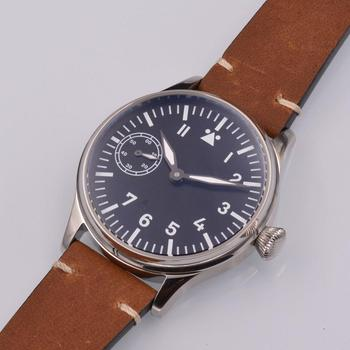 цена Corgeut 44mm sterile black dial mechanical manual winding men's watch 17 jewelry ST3600 seagull 6497move mechanical wristwatches онлайн в 2017 году
