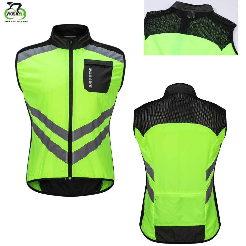 WOSAWE Pro Men's Cycling Vest Reflective Windproof Waterproof Breathable Clothing MTB Bike Bicycle Jacket Sleeveless Safety Vest