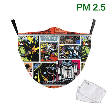 Cartoon Face Mask Adult Mask Breathable Adjustable Mouth Muffle Pm 2.5 Filter Print Star War Fabric Washable