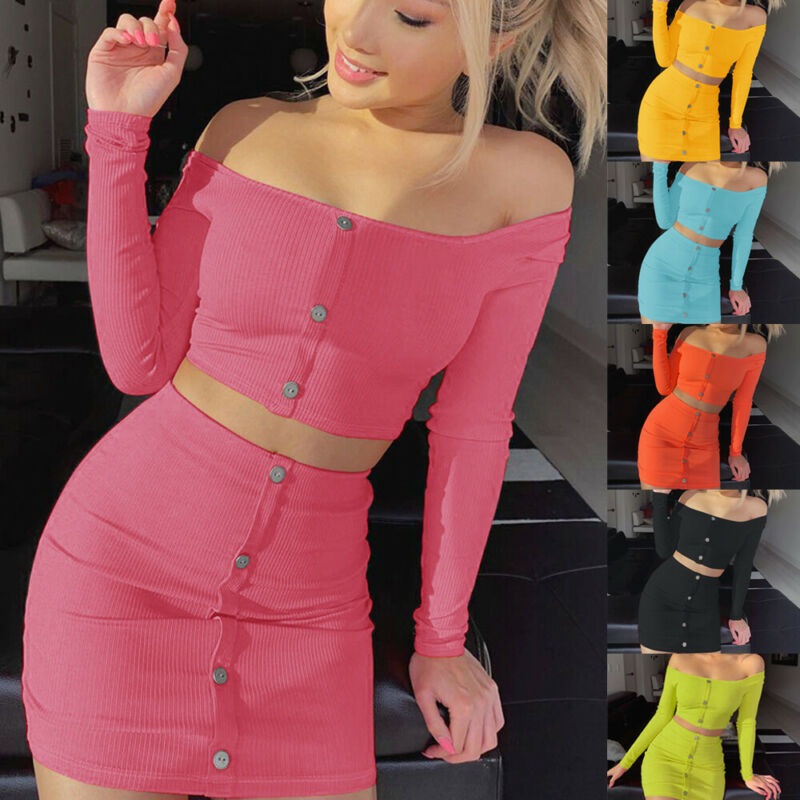 2019 New Women's Sexy 2 Piece Bodycon Two Piece Crop Top And Skirt Set Dress Party Lady One-shoulder Shirt Skirt Autumn Clothes