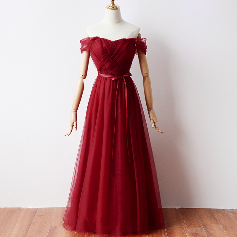 Red Tulle Plus Size Bridesmaids Dresses Junior Elegant For Wedding Party Fashion Prom Formal Sexy Dress Sister Vestidos Mujer