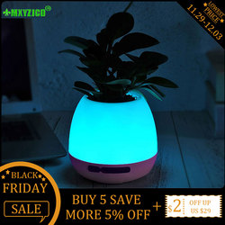 Bluetooth Audio Smart Flower Pot Colorful Night Light Plastic Vase Touch Plant Music Potted Home Decoration Accessories
