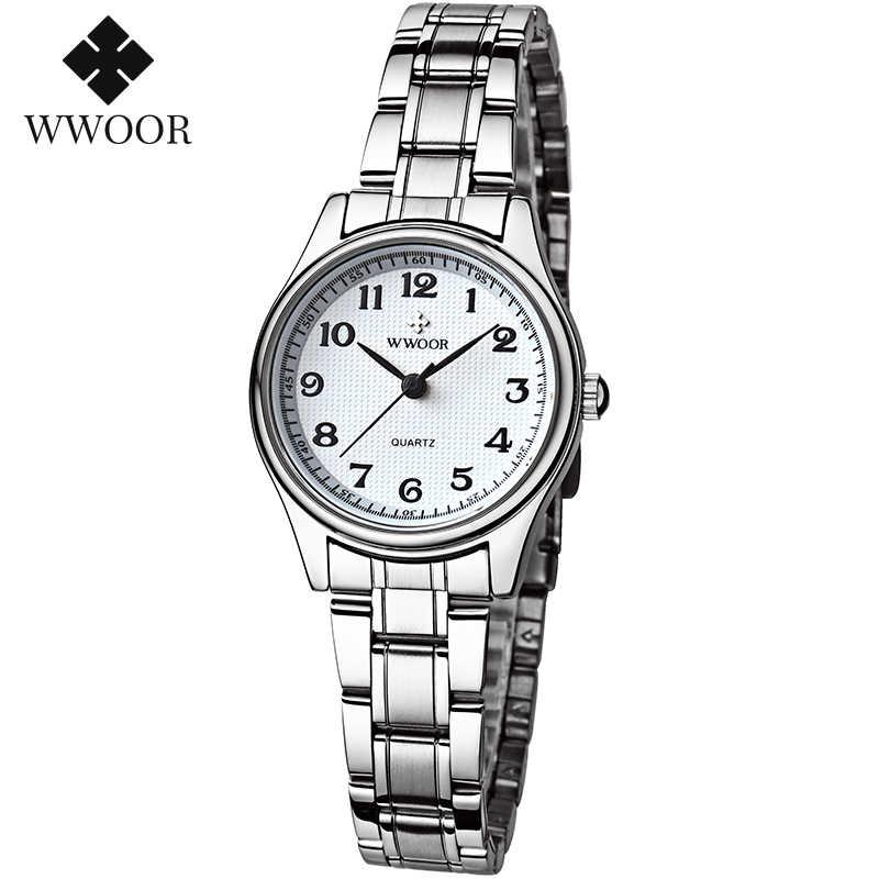 WWOOR שעון נשים אופנה מעצב סגנון קוורץ מקרית גבירותיי שעון יד ערבית ספרות קטן צמיד שעונים נירוסטה