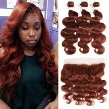 Paquets brésiliens de cheveux humains avec Frontal 13*4 Auburn Brown vague de corps non remy 100% tissages de cheveux humains paquet avec fermeture
