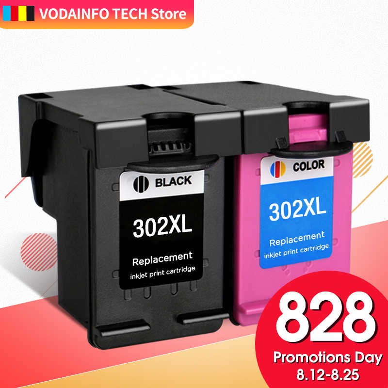 Qsyrainbow Kompatibel Warna Hitam untuk HP 302 XL Ink Cartridge HP Deskjet 2130 Iri 4520 Officejet 4650 DeskJet 3630