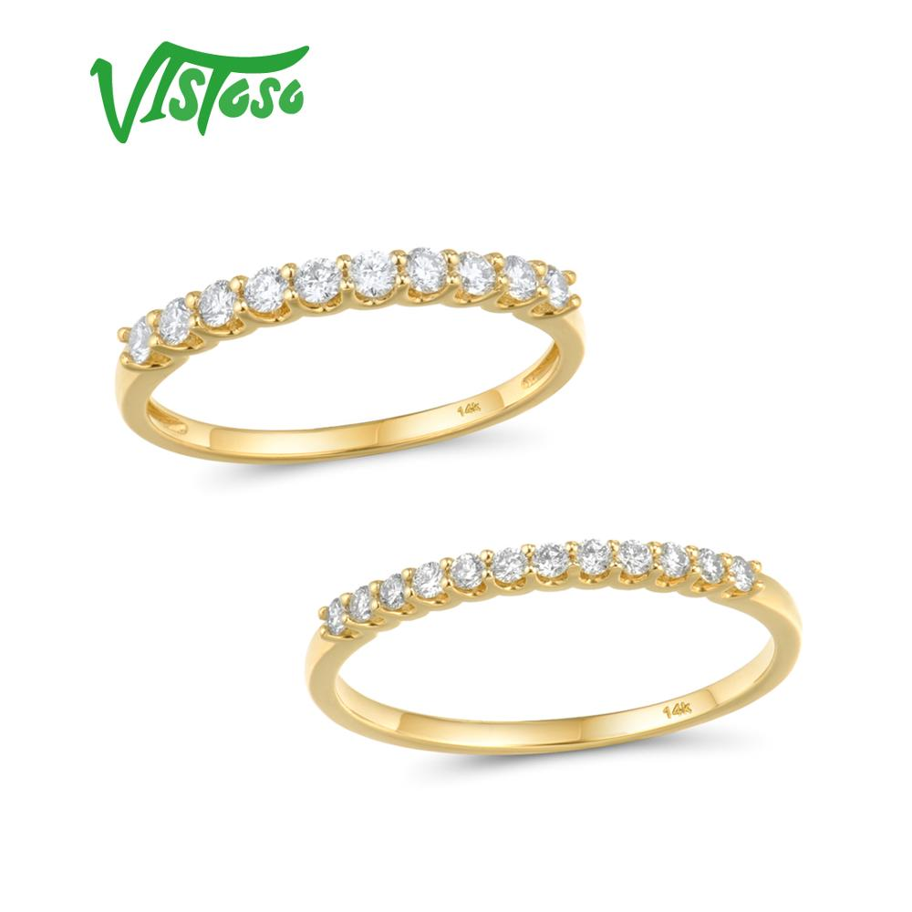 VISTOSO Gold Ring For Women Genuine 14K 585 Yellow Gold Ring Sparkling Diamond Promise Engagement Rings Anniversary Fine Jewelry