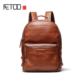 AETOO Men's retro shoulder bag, head-layer cowhide high-capacity backpack, plant leather travel bag. aetoo original shoulder bag leather retro backpack business computer bag head layer leather travel male bag college wind