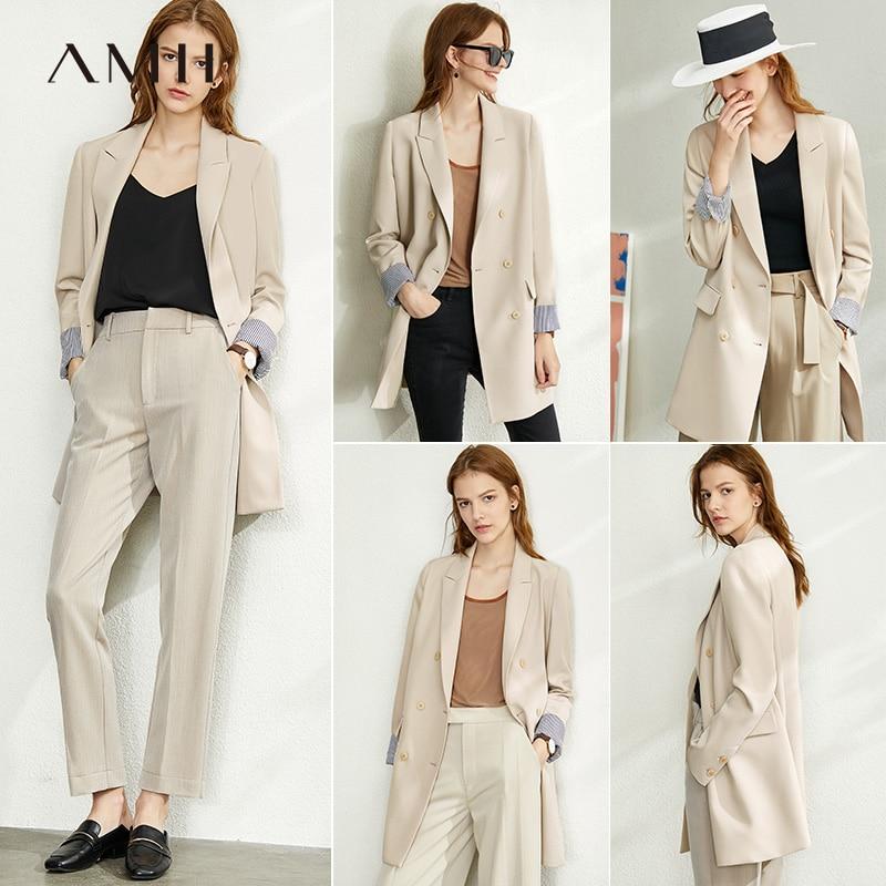 Amii Minimalism Spring Solid Lapel Suit Coat Women's Jacket Causal Full Sleeves Single-breasted Coat 12030884