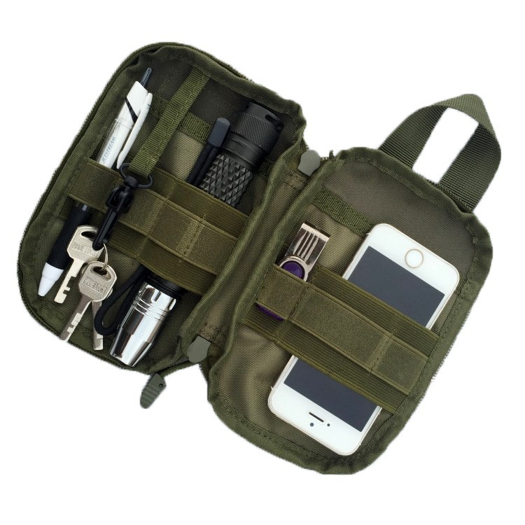 Small EDC Pocket Organizer Tactical Molle Waist Pouch Utility Gadget Security Pack Carry Accessory Bag with Cell Phone