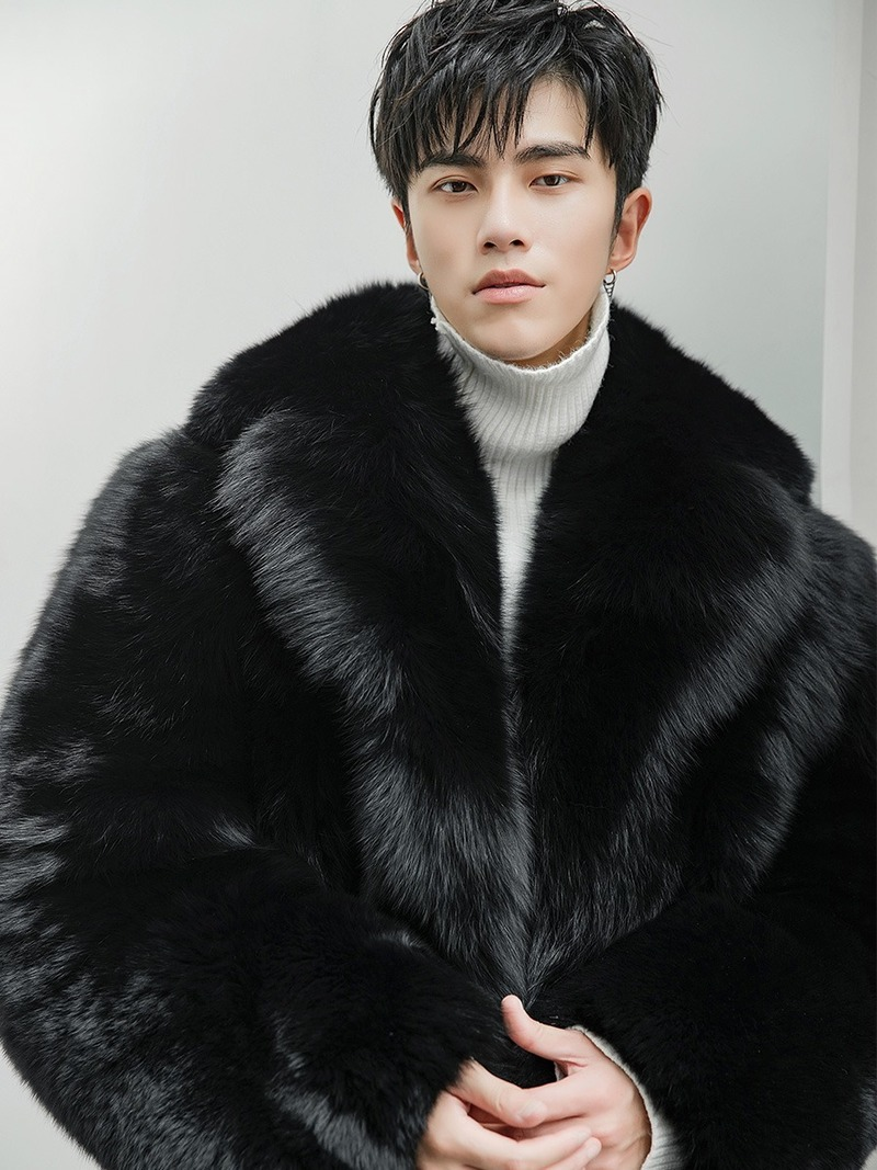 Real Fur Coat Men Long Winter Jacket Natural Fox Fur Coats Luxury Jacket Men Clothes 2020 Warm Overcoat 8284 KJ3311