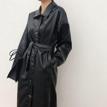 WSYORE – longue veste d'automne en cuir PU pour femmes, coupe-vent avec ceinture, Slim, NS939a, printemps 2021