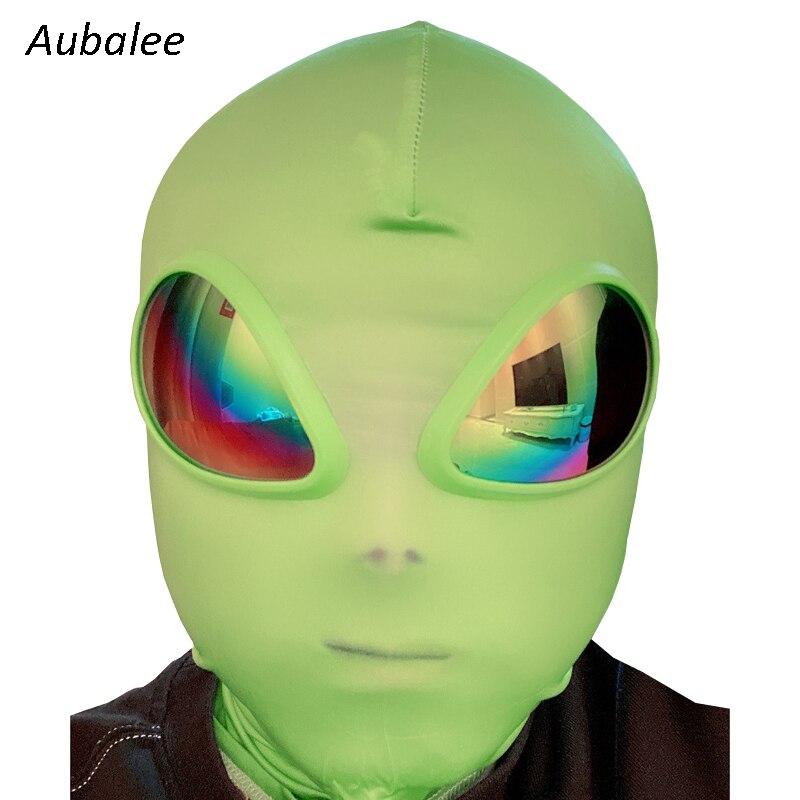 Green ET Alien Cosplay Mask Halloween Party Accessory Frog Man 3D Lenses Headwear Fantasy Props NEW