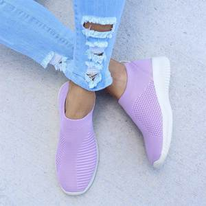 DIHOPE Sneakers Women Flat-Shoes Slip-On-Sock Vulcanized Casual Air-Mesh Knitted Big-Size