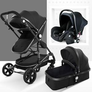 Multifunctional 3 in 1 Baby Stroller High Landscape Stroller Folding Carriage Gold Baby Stroller Newborn Stroller
