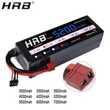 Bateria hrb 3s 11.1v lipo, 3000mah 3300mah 3600 4000mah 4200 mah 5200 6000mah 7000mah mah t deans xt60 trx plug rc peças do carro caso duro