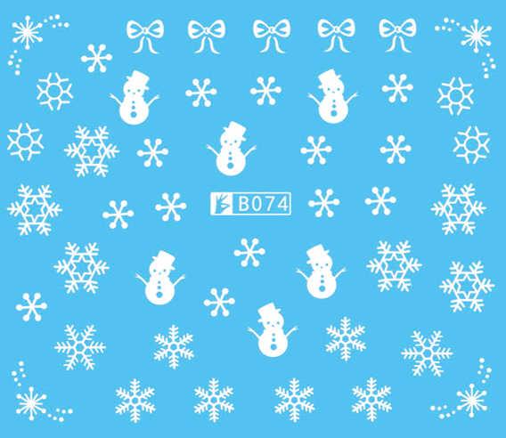 5 vel Veer Sneeuwvlok Wit Nail Water Stickers Ontwerpen Nail Art Stickers Decals Make DIY Water Tattoos Manicure B73-96