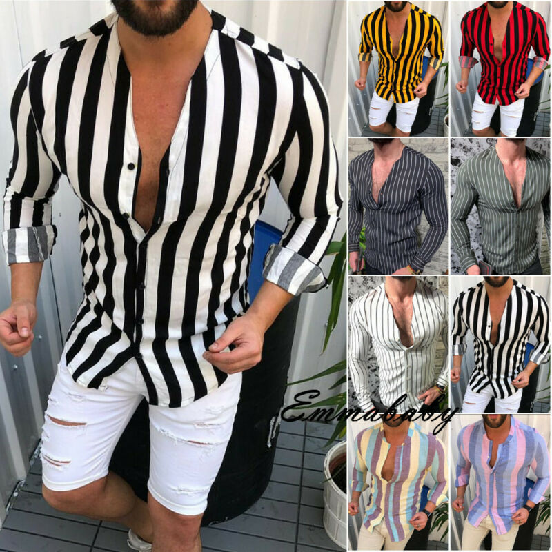 Fashion Mens Luxury Casual Stylish Slim Fit Long Sleeve Casual Dress Shirts Work Leisure Stripe Casual T-shirt