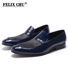 FELIX CHU Spring Autumn Mens Wedding Penny Loafer Patent Leather with Horse Hair Party Slip On Black Blue Dress Shoes for Men