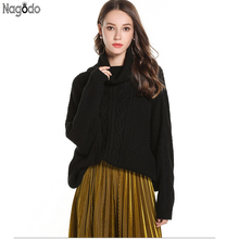 Nagodo Oversized Womens turtleneck Sweater noodles coarse knitting Pullover Soft Arylic Thicken Warm jumper for autumn winter