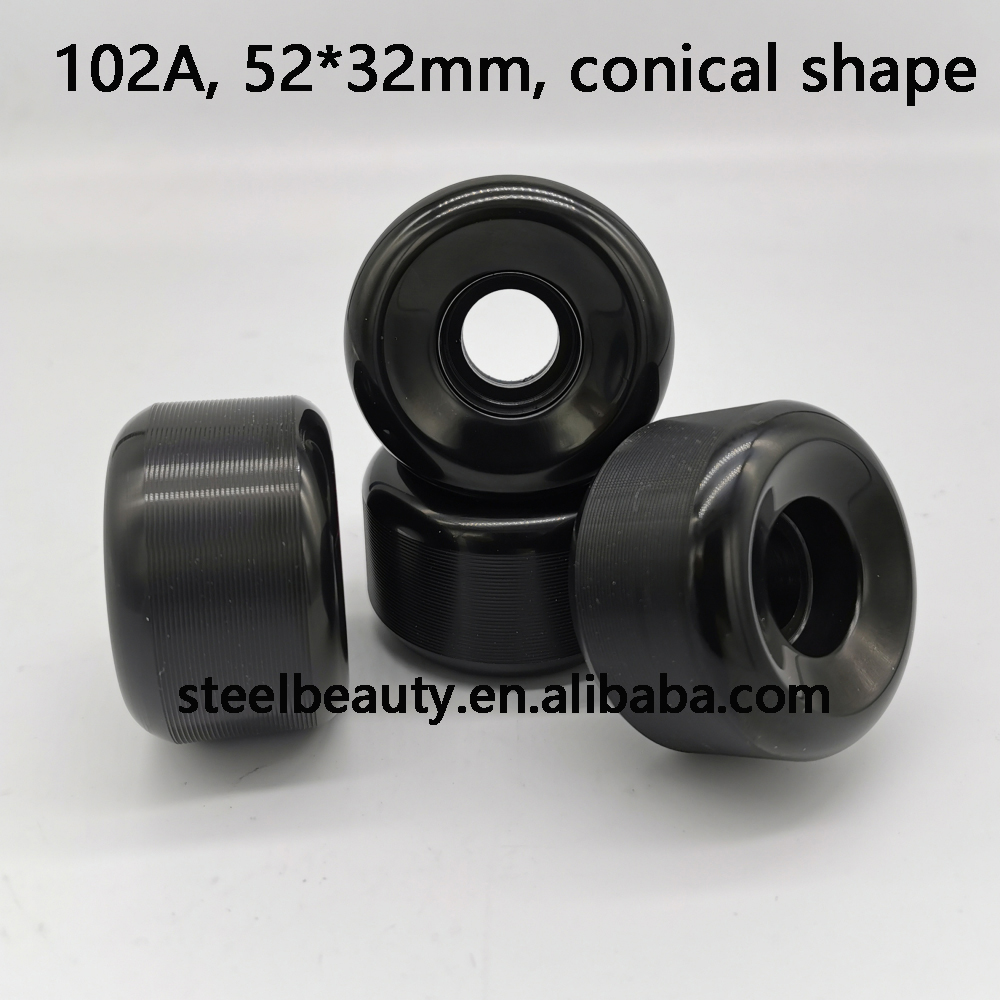 High End Quality Conical Shape Black Skateboard Wheels 52mm Skate Wheel 102A 85% Rebound 52*32mm
