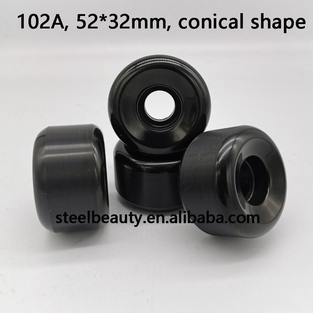 High End Quality Conical Shape Black Skateboard Wheels 52mm Skate Wheel 102A 85% Rebound 52*32mm