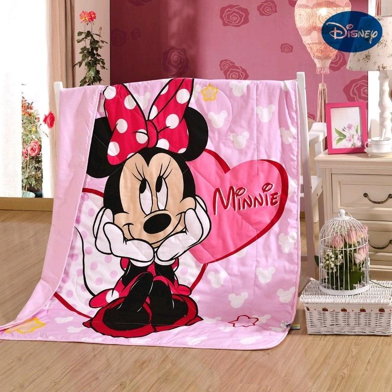 Disney Minnie Mouse Toddler Baby Summer Quilt 120x150CM Kindergarten Holiday Blanket Girls Boy Children Crib Bed Decoration Gift