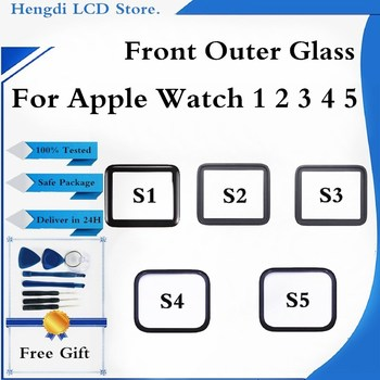 40mm 44mm Front Outer Glass Lens Cover Replacement Parts For Apple watch series 1 2 3 4 5 38mm 42mm 40mm 44mm LCD Glass image
