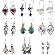 Vintage Women Hook Dangle Earrings Stone Moonstone CZ Silver Color Flower Leaf Geometric Drop Earring Boho Indian Jewelry DBE021
