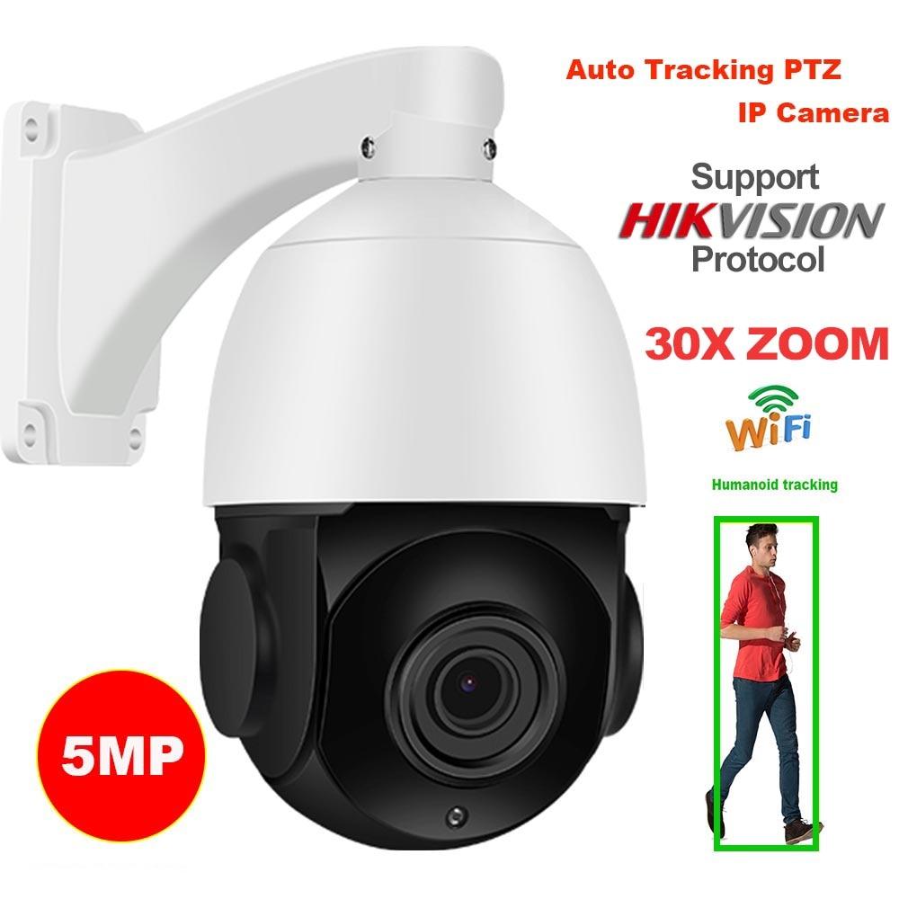 Sony imx335 sem fio 5mp faixa automática 30x zoom 25fps hikvision protocolo reconhecimento humano wifi ptz velocidade dome ip câmera de segurança