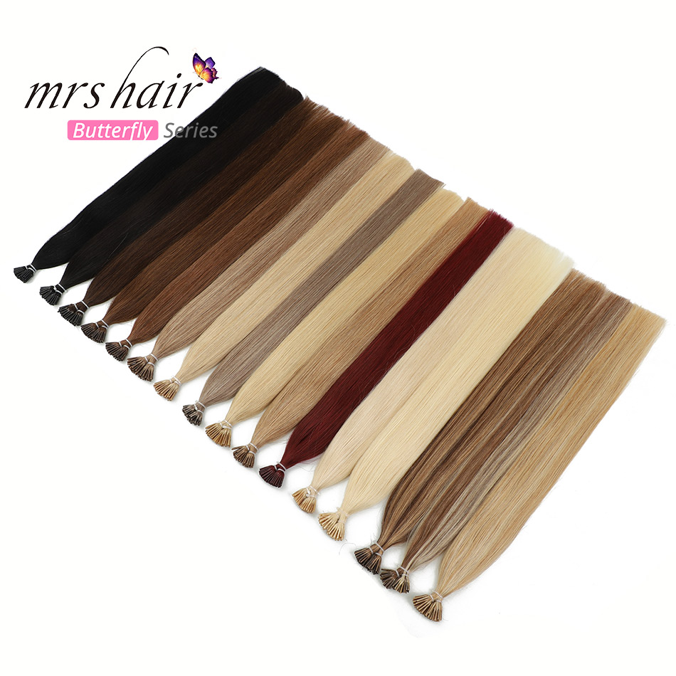 "MRSHAIR 1g/pc 12"" 16"" 20"" 24"" I Tip Hair Extensions Machine Remy Human Hair Pre Bonded Capsule Straight Bond Stick Hair 50 200pc"