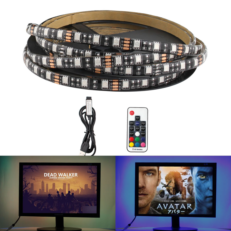 5V SMD <font><b>5050</b></font> Led Strip <font><b>USB</b></font> Lamp Tape RGB Backlight TV <font><b>USB</b></font> Led Strip Lamp Waterproof 5 V 60Led/m 1m RGB With 3 17 Remote Control image