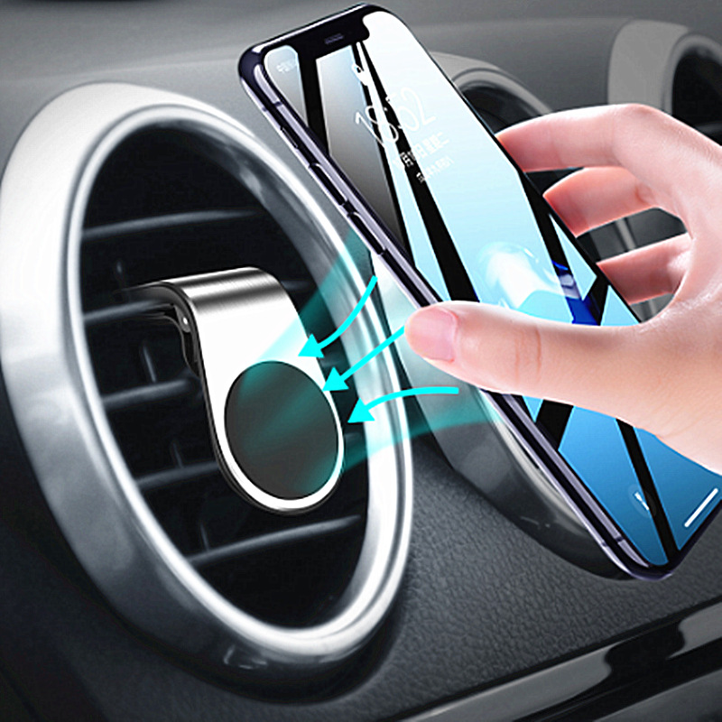 Metal Magnetic Car Phone Holder Mini Air Vent Stand Mobile Clip Mount Magnet Phone Stand Holder For IPhone 11 Pro Max XS Huawei