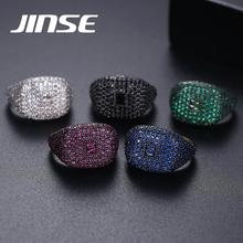 JINSE Fashion Colorful Cubic Zircon Iced Out Rings For Men Women Rose Gold Plated Adjustable