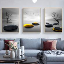 Современный минималистичный пейзаж принты деревьев и птиц Постер