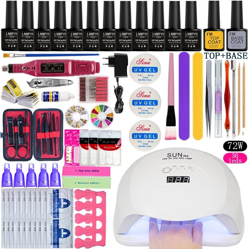 36w/48w/72w Led Uv Nail Lamp Choose 12 Color Gel Nail Polish Varnish Acrylic Kit Electric Nail Drill Machine For Manicure Set