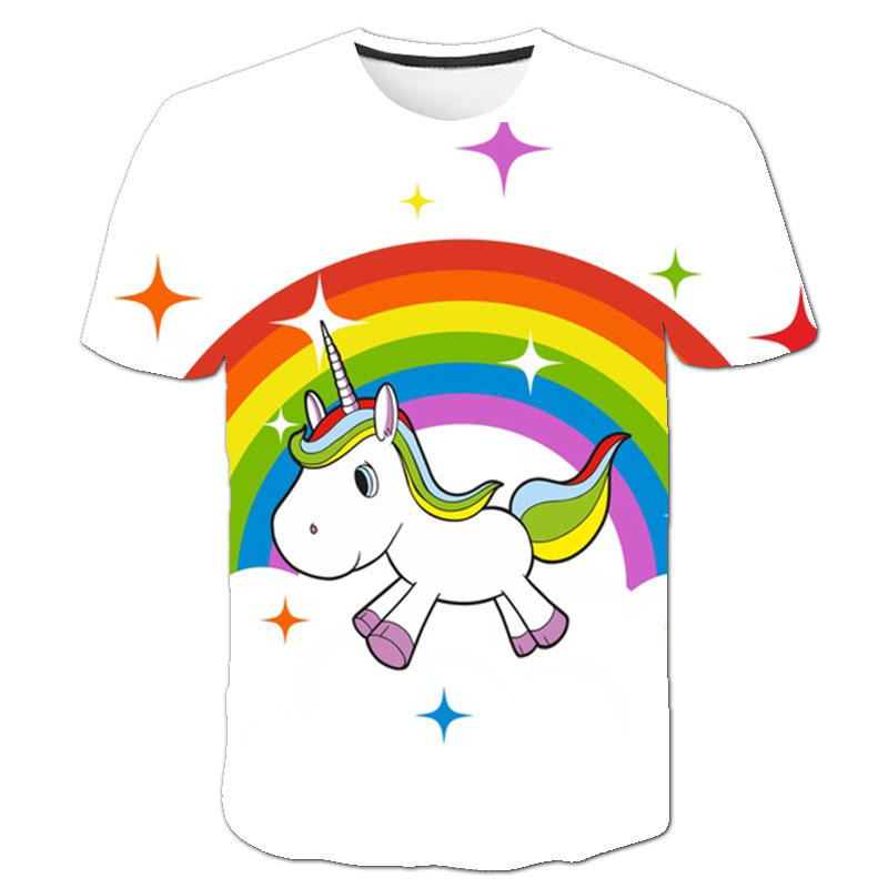 Baby Girls T-shirt 4 5 6 7 8 9 10 11 12 13 14 Years Unicorn Kids T Shirt Children Clothes Summer Unicorn T shirts Girl Tops Tee 1