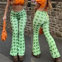 Weibliche Grüne Casual Ausgestelltes Hosen Herz-Förmigen Druck High-Taille Ausgestelltes Hosen Für Shopping und Dating In Frühling und Sommer