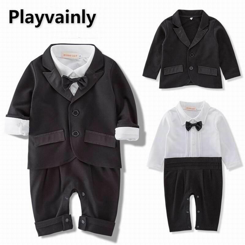 Wholesale 2021  Baby Boy Sets Long Sleeve Romper+black suit jacket 2 Piece Suit Boy Clothes E17900