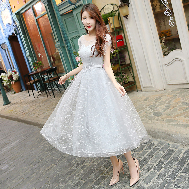Tulle Guest Wedding Party Elegant Dresses Sister Club Sexy Prom Simple Gary Formal Plus Size Bridesmaid Dress Club Vestidos