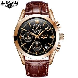 Image 5 - Montre Homme LIGE แฟชั่น Mens นาฬิกาหนังอะนาล็อกนาฬิกาควอตซ์ชาย 30M กันน้ำ Chronograph วันที่ชายนาฬิกา + กล่อง