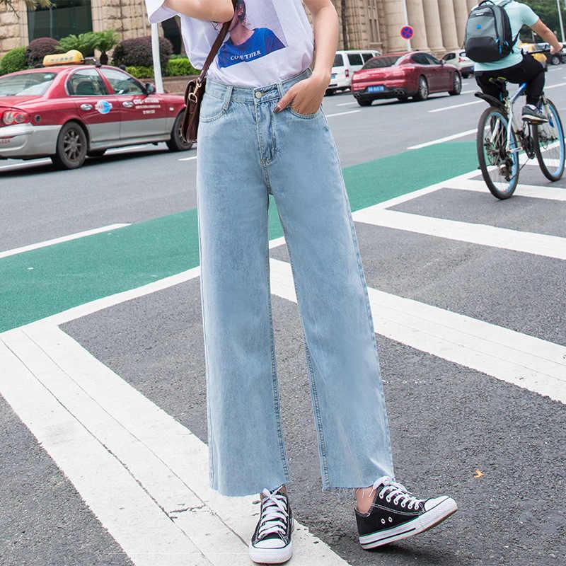 A vita alta pantaloni a Gamba Larga Jeans delle Donne 2019 di Estate di Nuovo Stile Coreano-stile Loose-Fit Dimagrante capri Drappo Sottile Dei Capelli